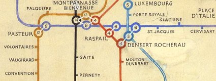 Beck's 1951 map of the Paris Metro (detail)