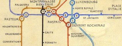Beck's 1951 map of the Paris Metro (detail)