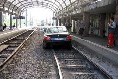 BMW in a train station