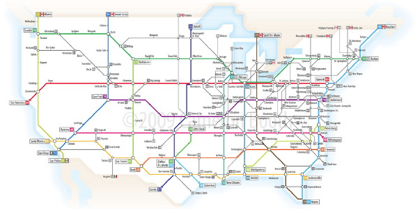 The Map Room US Interstates as Tube Map