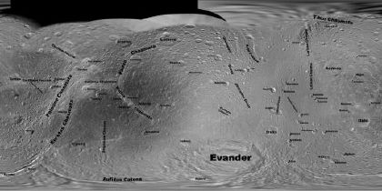 Map of Dione (Credit: NASA/JPL/SSI; mosaic by Steve Albers; map by Jason Perry)