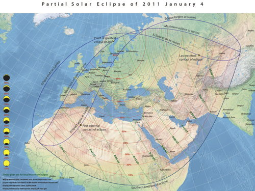 Eclipse map: Partial eclipse for Jan. 4, 2011