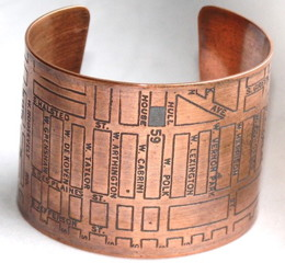 Fugu Designs: Chicago Map Copper Cuff