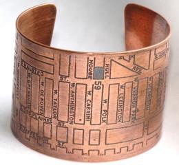 Fugu Designs: Chicago Map Copper Cuff