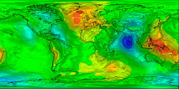GOCE map of Earth's geoid