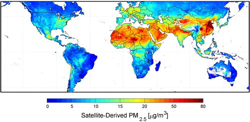 Map of global fine particulate matter