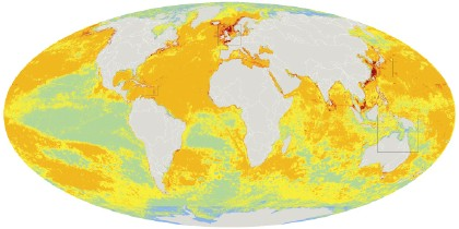 Map of human impact on global marine ecosystems