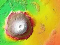 Olympus Mons, Mars, elevation map
