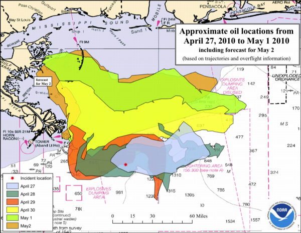 NOAA map: Approximate oil locations from, April 27, 2010 to May 1, 2010, including forecast for May 2