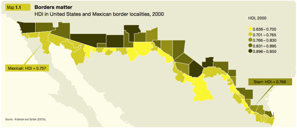 HDI in United States and Mexican border localities, 2000