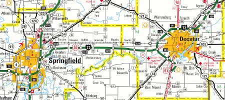 Detail from Illinois Official Highway Map