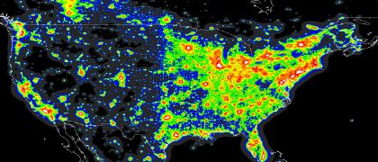 Light pollution map (North America)