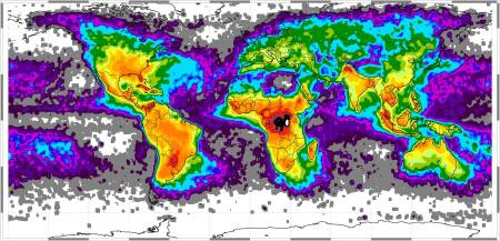 Map of global lightning strikes (Source: Geology.com)