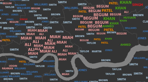 Typographic map of London surnames