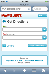 Screenshot: MapQuest mobile website