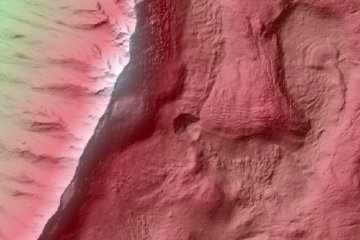 Mars HiRISE DTM image: Potential New Gully Bright Deposits