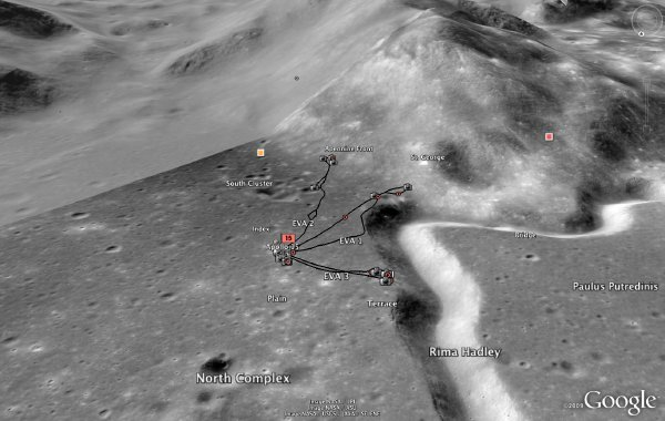 Apollo 15 landing site in Google Earth