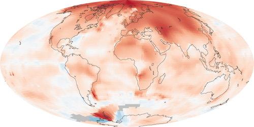 NASA global temperatures: anomaly 2000-2009