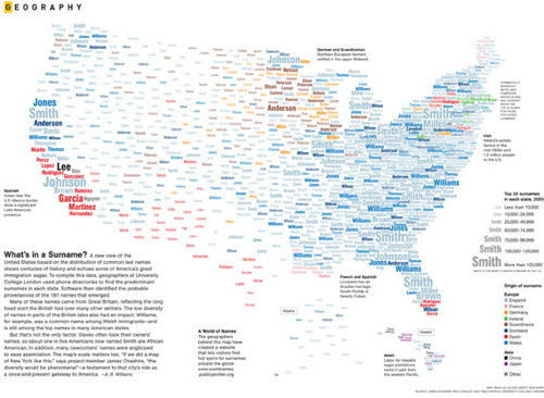 Typographic map of U.S. surnames from Feb. 2011 National Geographic