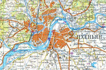 Soviet-era topographic map of the Pyongyang area