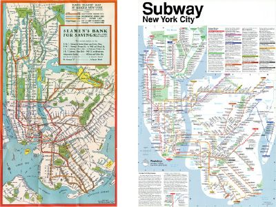 New York subway maps: 1930s at left; Tauranac's 1979 map at right