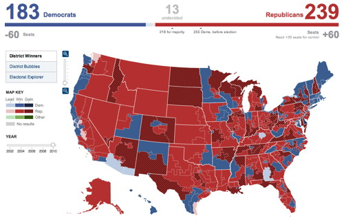 New York Times 2010 elections map (House of Representatives), screenshot