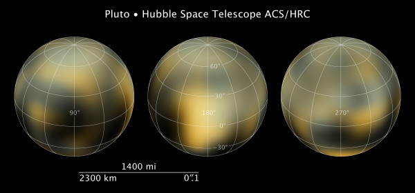 Faces of Pluto (Hubble), with gridlines