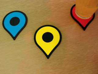 Google Maps pushpin coasters