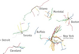 Radical Cartography: Urban Mass Transit Systems of North America (detail, thumbnail)