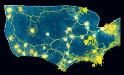 Slime mold map of the U.S.