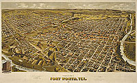 Bird's eye map of Fort Worth TX