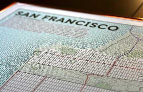 Typographic map of San Francisco (Axis Maps)