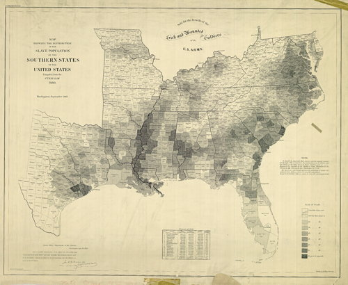 Map Showing the Distribution of the Slave Population of the Southern States of the United States Compiled from the Census of 1860