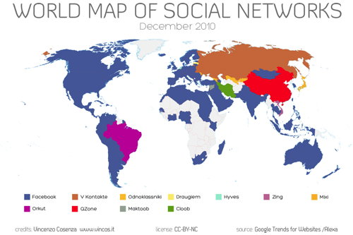 World Map of Social Networks, Dec. 2010