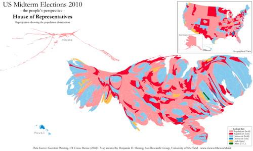 U.S. Midterm Elections 2010 (cartogram)