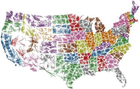 STATES MAP PRINT Soft Pretty Clipart Sweet Tiled United States - Pretty us map